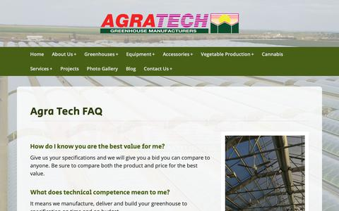 Screenshot of FAQ Page agratech.com - Commercial Greenhouse Manufacturer | Metal Structure | Vegetable - captured Oct. 23, 2018
