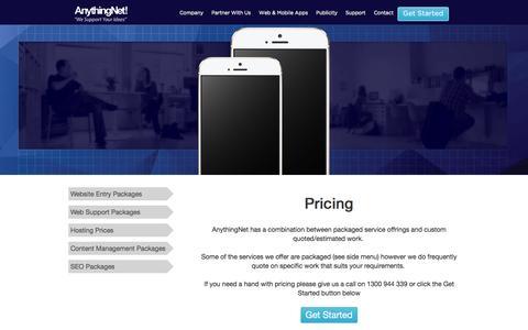 Screenshot of Pricing Page anythingnet.com.au - Pricing Index - - captured July 26, 2016
