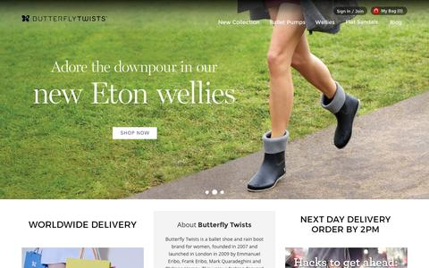 Screenshot of Home Page butterflytwists.com - Ballet Shoes, Ballet Pumps & Wellies That Fold | Butterfly Twists - captured Oct. 1, 2015