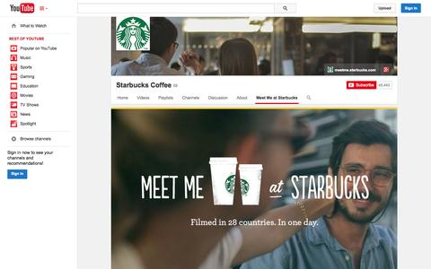 Screenshot of YouTube Page youtube.com - Starbucks Coffee  - YouTube - captured Oct. 22, 2014
