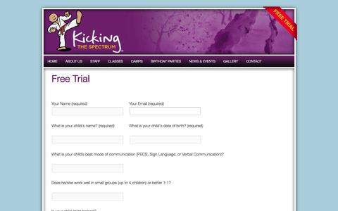 Screenshot of Trial Page kickingthespectrum.com - Free Trial - Kicking The Spectrum® Karate - captured Sept. 30, 2014