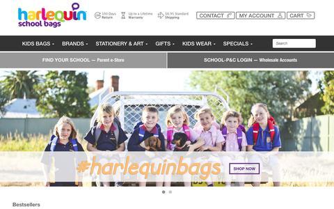 Screenshot of Home Page schoolbags.com.au - Harlequin School Bags | Kids Backpacks | Personalised Bags - captured July 17, 2017