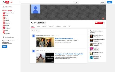 Screenshot of YouTube Page youtube.com - NZ Wealth Mentor  - YouTube - captured Oct. 26, 2014