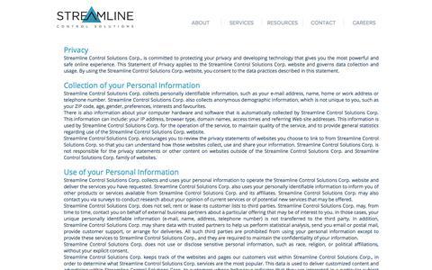 Screenshot of Privacy Page streamlinecontrol.com - Privacy Policy | Calgary, AB | Streamline Control Solutions - captured Nov. 11, 2017