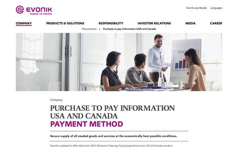 Payment method - Evonik Industries AG