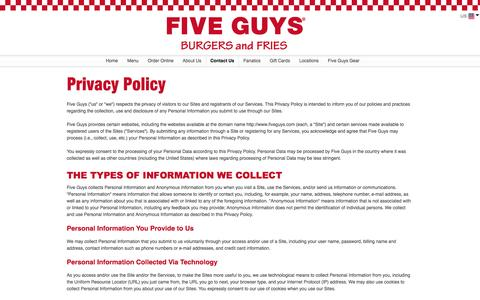 Screenshot of Privacy Page fiveguys.com - Privacy Policy| Five Guys Burgers and Fries - captured Sept. 19, 2014