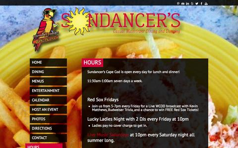 Screenshot of Hours Page sundancerscapecod.com - Hours | Sundancer's Cape Cod - captured Oct. 8, 2014