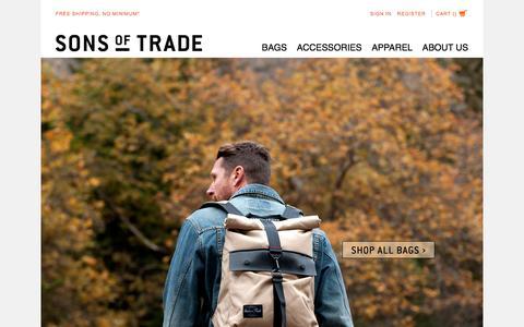 Screenshot of Home Page sonsoftrade.com - Sons Of Trade Mens Bags - captured Dec. 18, 2016