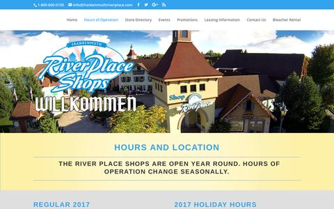 Screenshot of Hours Page frankenmuthriverplace.com - Hours of Operation | River Place - captured March 15, 2017