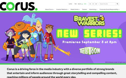 Screenshot of Home Page corusent.com - Corus Entertainment - captured Sept. 23, 2018