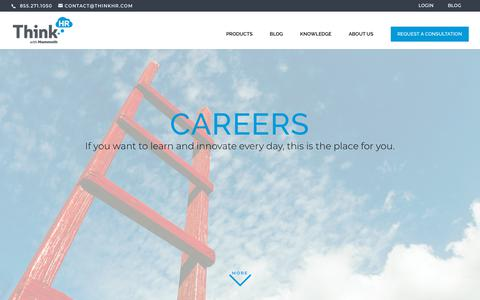 Screenshot of Jobs Page thinkhr.com - Careers | ThinkHR - captured July 28, 2019