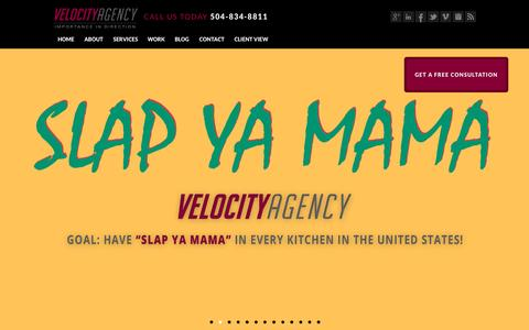 Screenshot of Home Page velocityagency.com - Velocity Agency | New Orleans Advertising & Marketing Agency - captured Sept. 16, 2015
