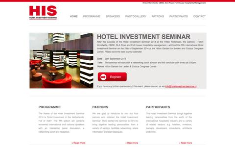 Screenshot of Home Page hotelinvestmentseminar.nl - Hotel Investment Seminar - captured Sept. 30, 2014