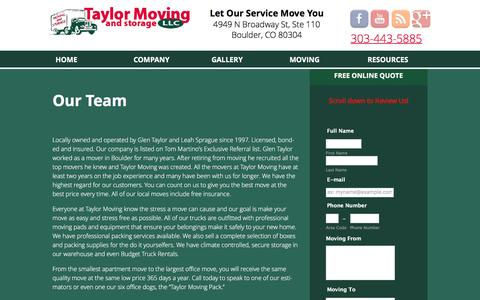 Screenshot of Team Page taylormove.com - Our Team - Taylor Moving Services - captured March 18, 2016