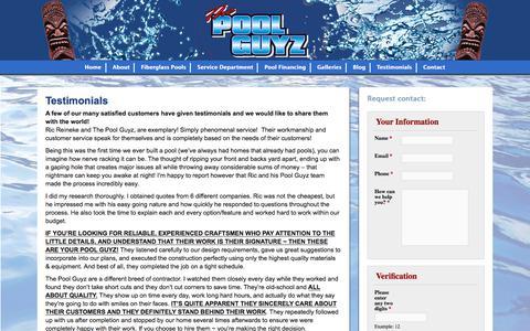 Screenshot of Testimonials Page thepoolguyz.com - Testimonials - The Pool Guyz - captured June 15, 2017