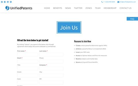 Screenshot of Signup Page unifiedpatents.com - Join Us - Unified Patents - captured Feb. 23, 2016