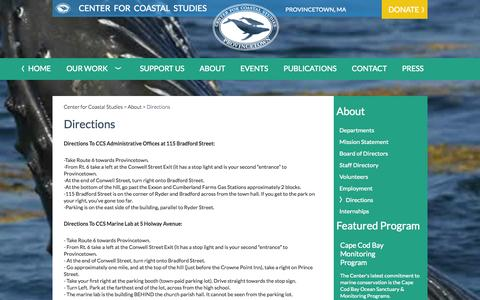 Screenshot of Maps & Directions Page coastalstudies.org - Directions | Center for Coastal Studies - captured Nov. 2, 2014