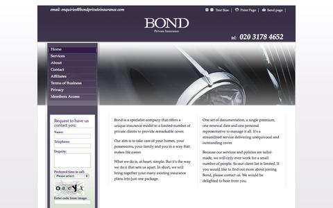 Screenshot of Home Page bondprivateinsurance.com - Bond Private Insurance - captured Oct. 5, 2014