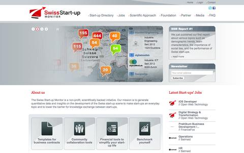 Screenshot of Home Page startupmonitor.ch - Swiss Start-up Monitor - captured Sept. 2, 2015