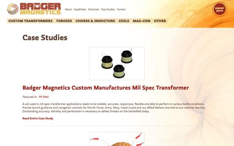 Screenshot of Case Studies Page badgermagnetics.com - Case Studies | Badger Magnetics - captured Oct. 5, 2018