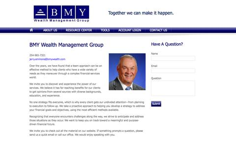 Screenshot of About Page bmywealth.com - About Us | BMY Wealth Management Group - captured Oct. 4, 2014