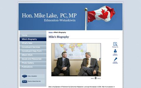Screenshot of About Page mikelake.ca - Mike Lake : Member of Parliament for Edmonton-Wetaskiwin : Mike's Biography - captured March 11, 2016