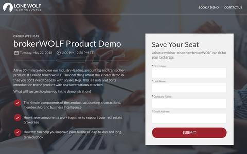 Screenshot of Landing Page lwolf.com - brokerWOLF Product Demo Registration | Lone Wolf Technologies - captured May 19, 2018