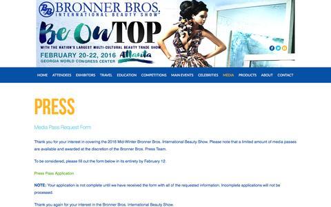 Screenshot of Press Page bronnerbros.com - Press Pass Request - Bronner Bros. International Beauty Show - captured Feb. 8, 2016