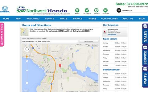 Screenshot of Maps & Directions Page Hours Page northwesthonda.com - Hours, Location & Directions - Northwest Honda - captured Oct. 26, 2014
