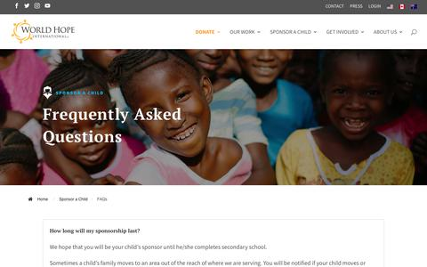 Screenshot of FAQ Page worldhope.org - Frequently Asked Questions | World Hope International - captured Oct. 20, 2018