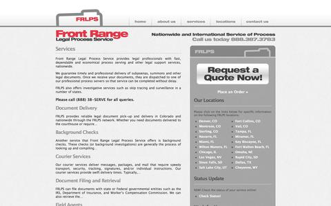 Screenshot of Services Page frlps.com - Services | Process Servers - Front Range Legal Process Service - captured Oct. 6, 2014