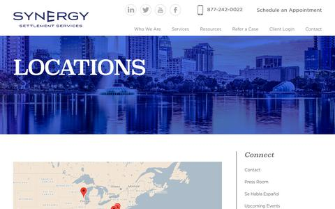 Screenshot of Locations Page synergysettlements.com - Locations | Synergy Settlements - captured April 20, 2019