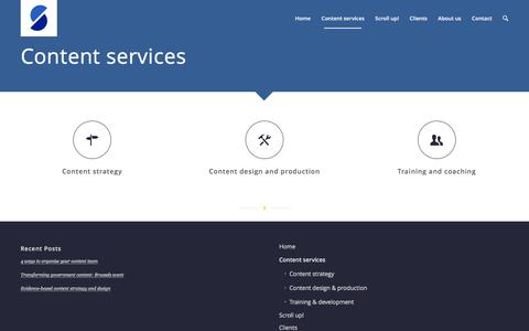 Screenshot of Services Page scroll.co.uk - Scroll |   Content services - captured Jan. 22, 2016