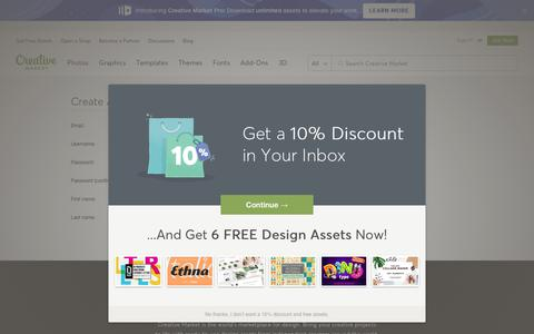 Screenshot of Signup Page creativemarket.com - Create an Account ~ Creative Market ~ Creative Market - captured Aug. 7, 2018