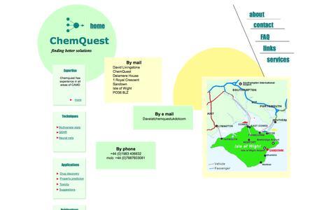 Screenshot of Contact Page chemquestuk.com - Contact - captured Oct. 2, 2014
