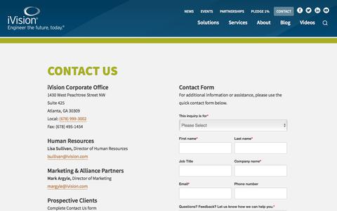 Screenshot of Contact Page ivision.com - Contact Us | iVision - captured Nov. 1, 2019