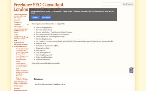 Screenshot of Services Page seolondonsurrey.co.uk - Expertise - Freelance SEO Consultant London area - Est. 2008 - captured Oct. 6, 2014