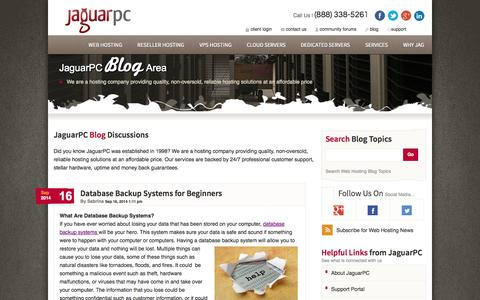 Screenshot of Blog jaguarpc.com - Web Hosting News, Tips & Tricks and More | JaguarPC Blog - captured Sept. 18, 2014