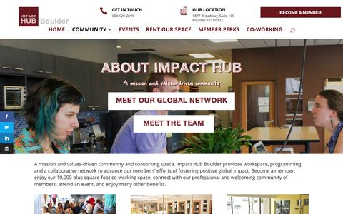 Screenshot of About Page impacthubboulder.com - About Impact Hub | Impact Hub Boulder - captured July 2, 2017