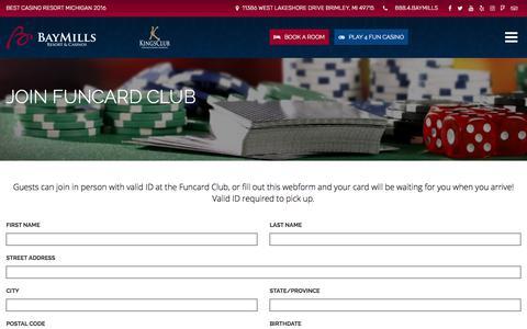 Screenshot of Signup Page baymillscasinos.com - Join Funcard Club - Bay Mills Resort & Casinos - captured Feb. 10, 2018