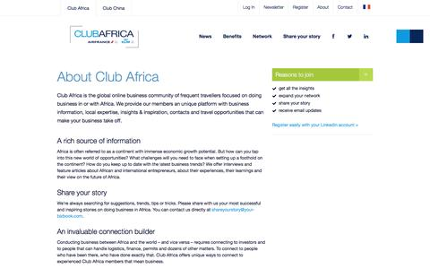 Screenshot of About Page your-bizbook.com - About Club Africa | AIRFRANCE-KLM - captured Nov. 7, 2016