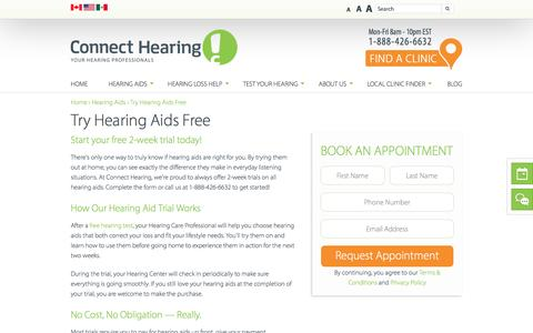 Screenshot of Trial Page connecthearing.com - Free Hearing Aid Trial | Connect Hearing - captured Sept. 4, 2016