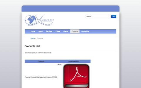 Screenshot of Products Page vogsphere.co.za - Vogsphere - Products - captured Nov. 3, 2014