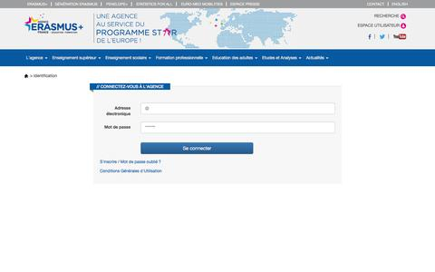 Screenshot of Login Page agence-erasmus.fr - Agence - Identification - Erasmus+ France / Education Formation - captured Feb. 5, 2016