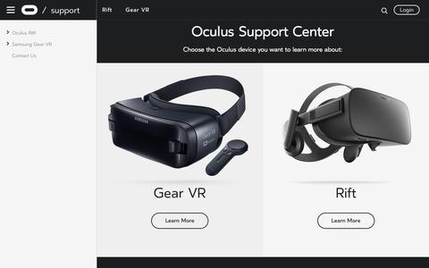 Screenshot of Support Page oculus.com - Getting Started | Oculus - captured Sept. 28, 2017