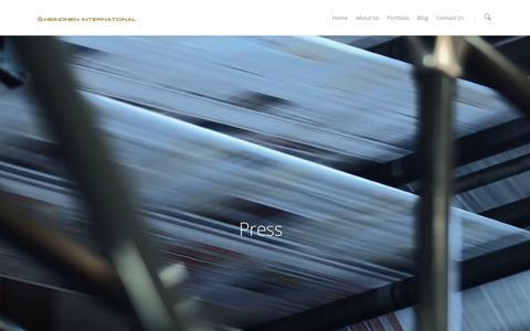 Screenshot of Press Page heinoneninternational.com - Press |  Heinonen International - captured Dec. 9, 2015