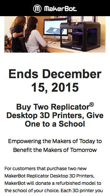 Buy 2 Give 1 - MakerBot Promotion