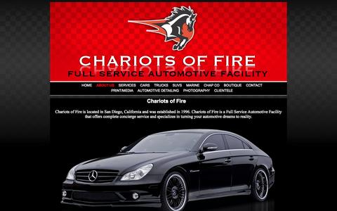 Screenshot of About Page cofcustoms.com - Chariots of Fire • Full Service Automotive Facility - captured Oct. 2, 2014