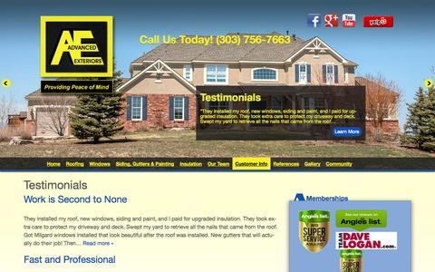 Screenshot of Testimonials Page advancedexteriors.com - Testimonials Archive - Advanced Exteriors - captured Oct. 4, 2014
