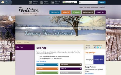 Screenshot of Site Map Page penticton.ca - Site Map | City of Penticton - captured Jan. 16, 2016